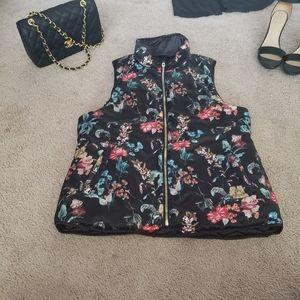 Kensie reversible puff vest black/floral **pockets